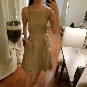 COS 100% Italian Cotton Tan Stripe Tie Waist Dress